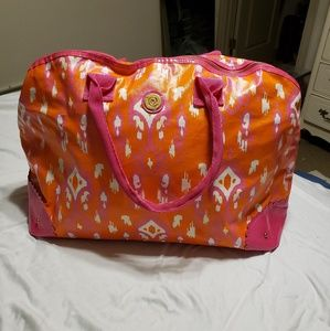 Mud Pie pink and orange overnight bag